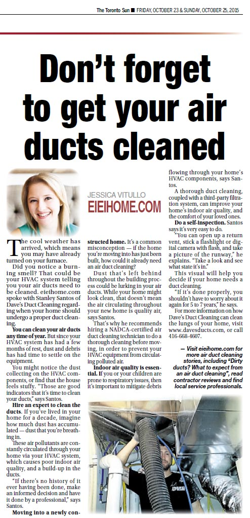 Toronto Sun - Don't forget to get your air ducts cleaned